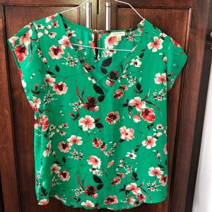 Green and Red Floral Lily White Blouse Junior XL